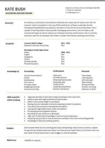 curriculum vitae  fresh graduate  experience
