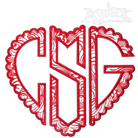 heart scalloped applique monograms embroidery fonts