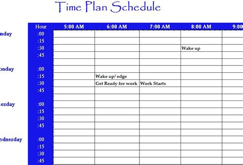 time plan schedule  excel templates