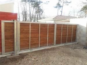Portail Bois 4m : montage portail ext rieur coulissant portail ~ Premium-room.com Idées de Décoration