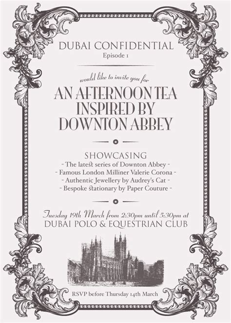 invite    afternoon tea  downton abbey