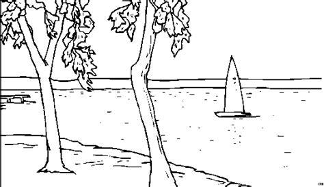 Segelboot Auf See Ausmalbild & Malvorlage (landschaften