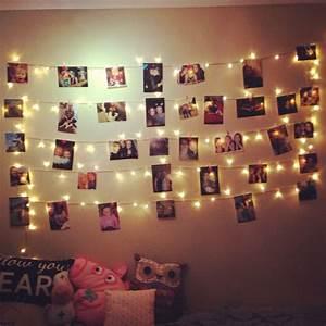 Fairy light photo wall home