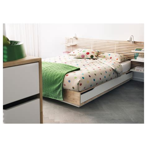 mandal bed frame with storage birch white 140x202 cm ikea