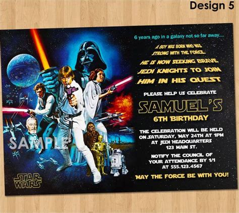 star wars birthday invitation templates word psd