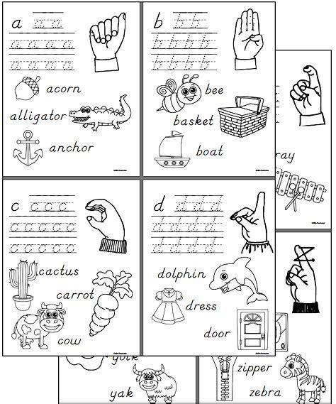 kindergarten sign language worksheets alphabet file