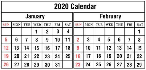 printable january february calendar