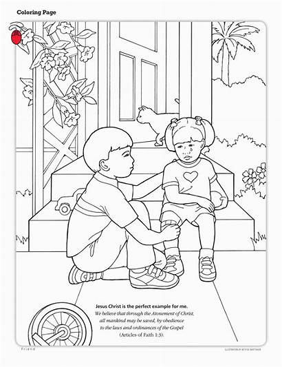 Coloring Others Lds Jesus Christ Helping Atonement