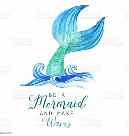 Mermaid Watercolor Tail Illustration Template Clip Character