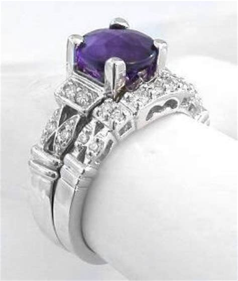 amethyst  diamond engagement ring   white gold gr