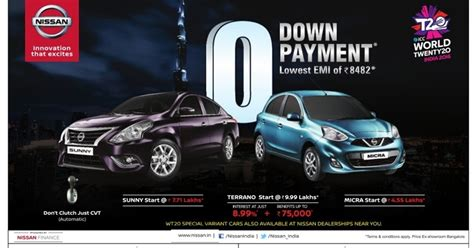 Best Back Offers On Cars by Zero 0 Payment Offer On Nissan Cars With Lowest Emi