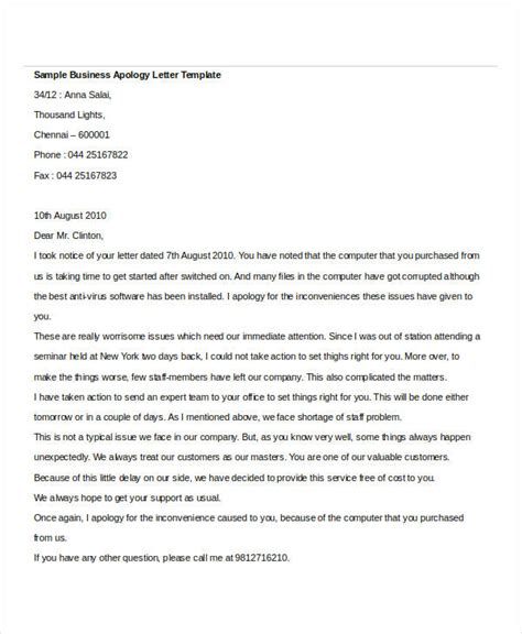 apology letter templates  word   word