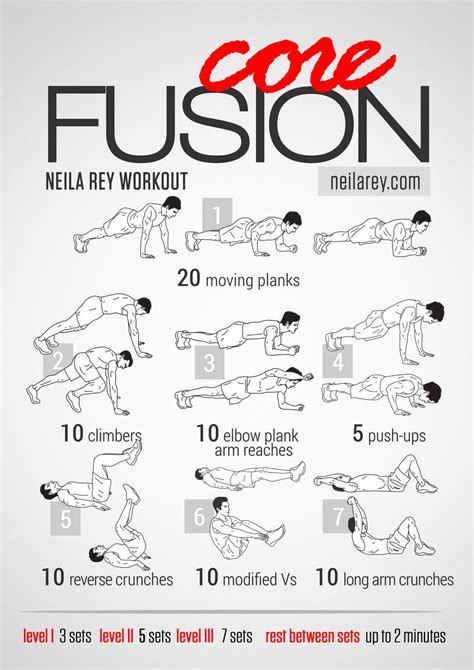 workout core fusion bodyweight equipment exercises workouts abs gym ab weight training exercise fitness visual workou rey neila guides