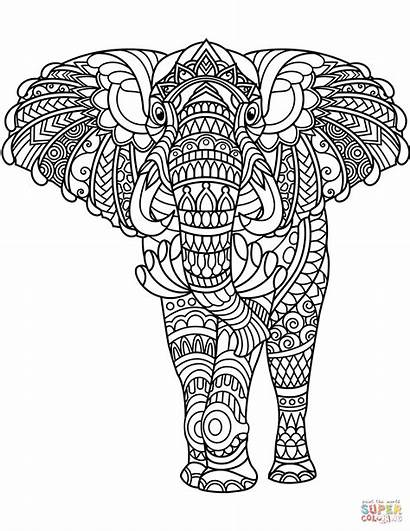 Coloring Zentangle Elephant Pages Printable Drawing Dot