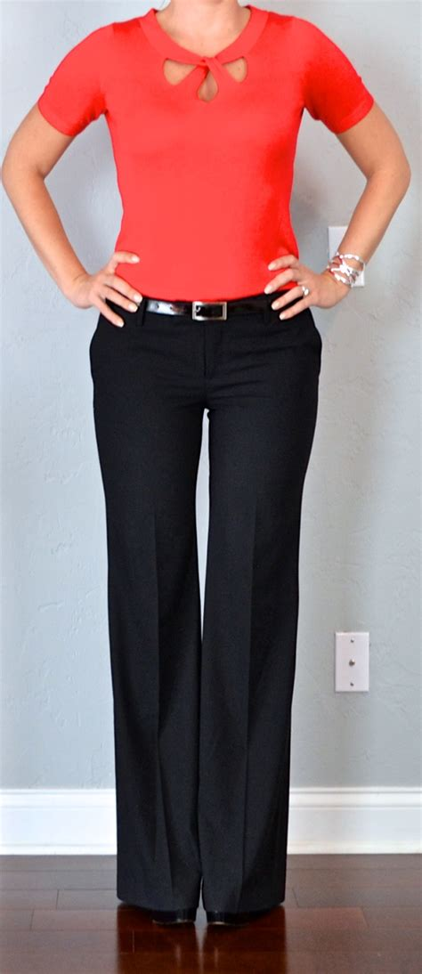 Outfit post red cutout sweater black dress pants black pumps | Outfit Posts