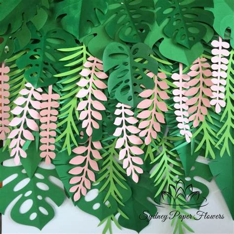 tropical leaves backdrop jungle party backdrop tropical