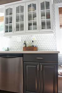 gray and white kitchen makeover hexagon tile backsplash 2324