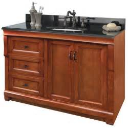 foremost naca4821dl naples 48 quot vanity cabinet only drawers left in warm cinnam traditional