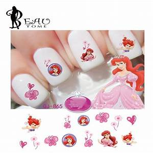 1Pcs Water transfer Decals Princess Nail Tips Stickers