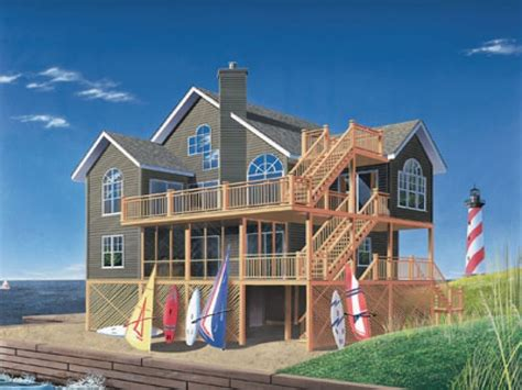 house  roof deck  story beach house plans  bedroom