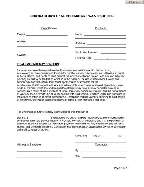 contractor liability waiver form  printable business