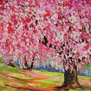 Cherry Blossom Tree Sakura Pink Tree Landscape Oil Painting
