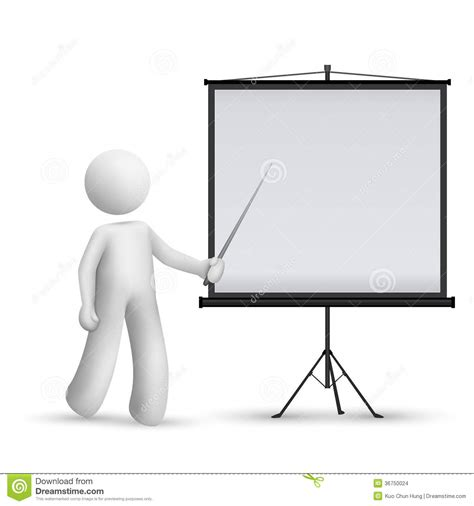 3d Man Introducing Something At A Projector Stock Vector