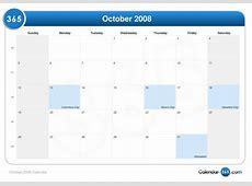 October 2008 Calendar