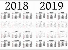 Calendario Para 2018 Y 2019 Stock de ilustración