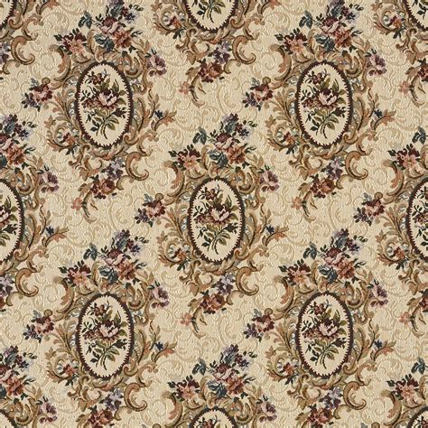 Tapestry Material Upholstery by F665 Burgundy Beige Green Floral Bouquet Tapestry