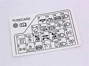 Fuse Panel Diagram Key Card 98-05 Vw Passat B5