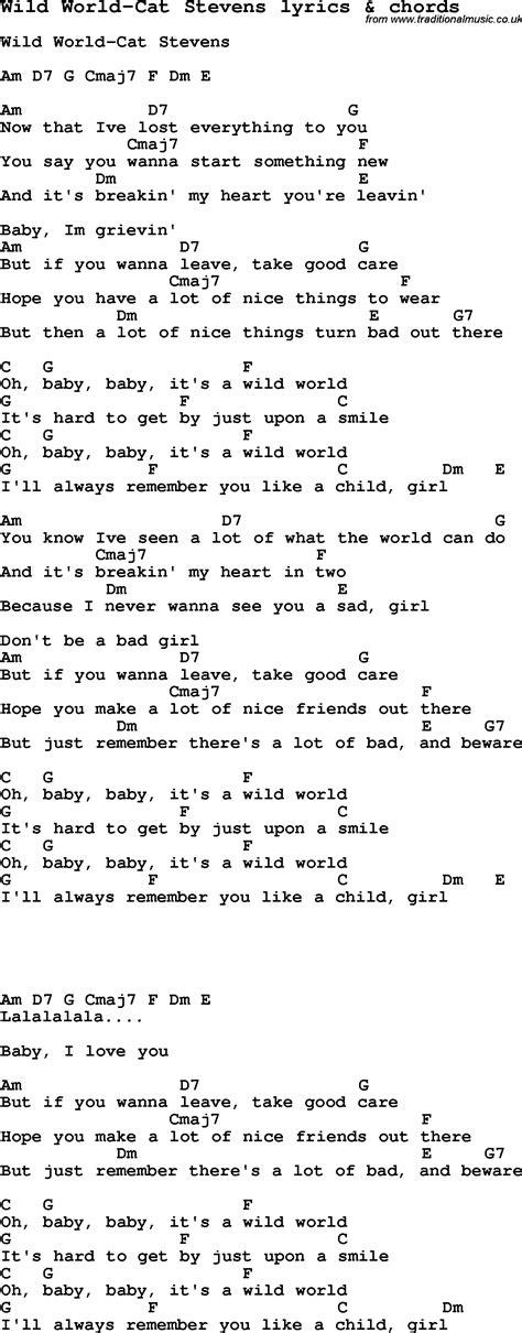 love song lyrics forwild world cat stevens  chords