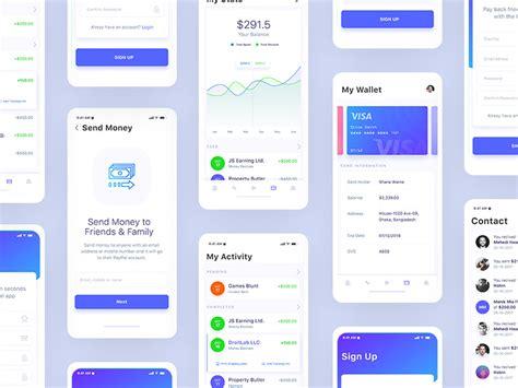 financial mobile app design ios ui kit wip  md