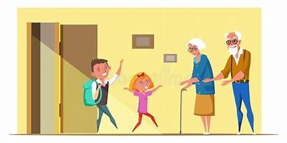 Grandparents Cartoon Flat Doctor Pediatrician Examine Patient