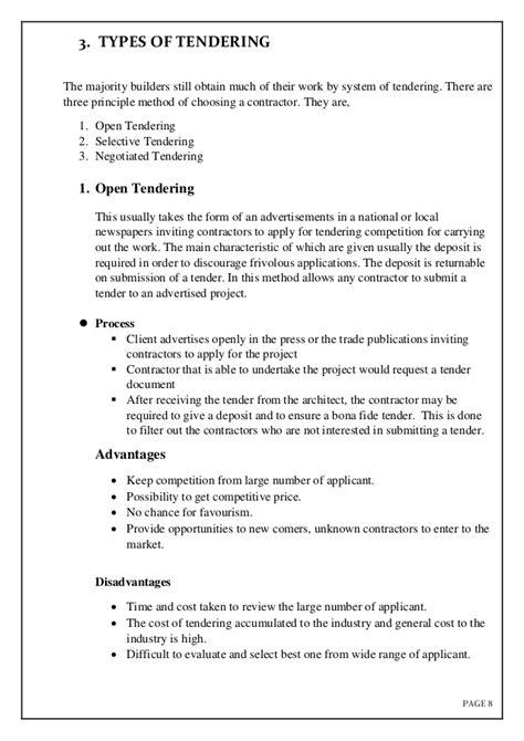 Tendering documentation