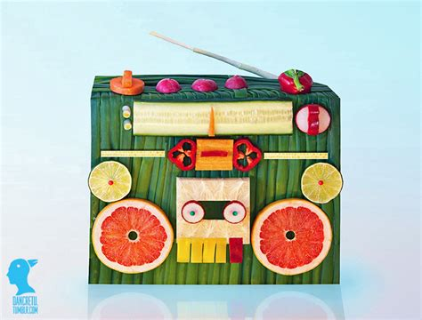 radio cuisine food sculptures made with fruits and vegetables by dan