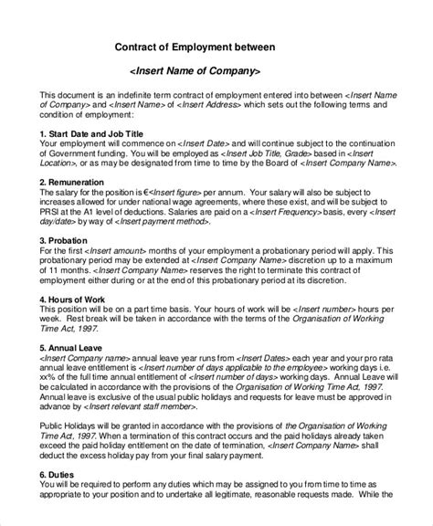 Template Of A Contract Of Employment by Sle Employment Contract Beneficialholdings Info