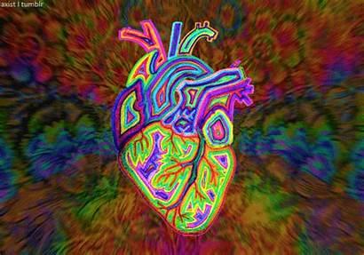 Trippy Heart Psychedelic Gifs Rainbow Motion Mine