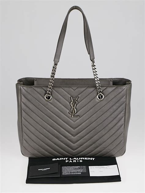 yves saint laurent grey chevron quilted leather monogram tote bag yoogis closet