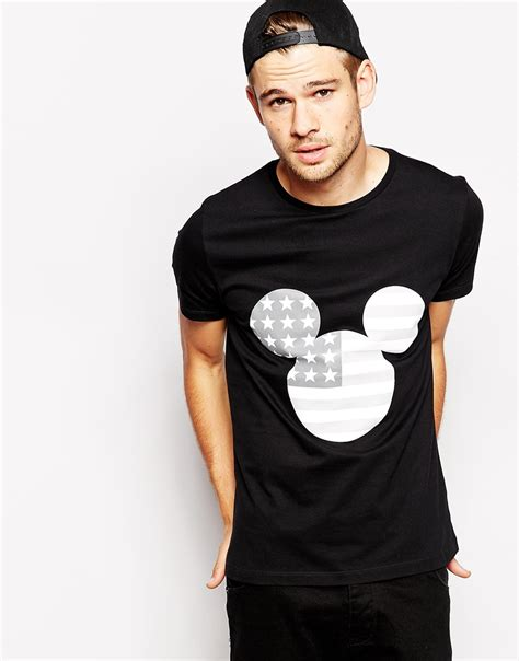 lyst asos t shirt with mickey mouse flag print in black