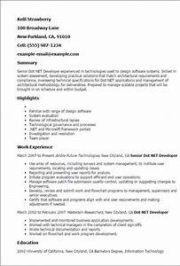 professional senior dot net developer templates to With sample resume for dot net developer experience 2 years