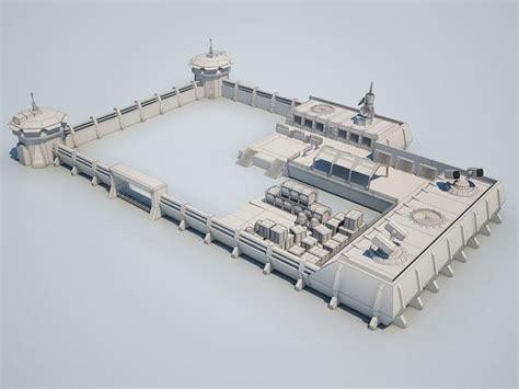 scifi military base  model max obj ds fbx cgtradercom