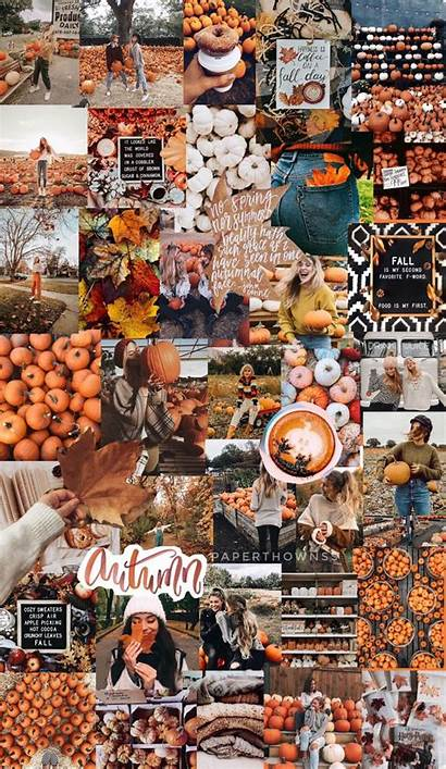 Collage Aesthetic Halloween Wallpapers Autumn Fall Thanksgiving