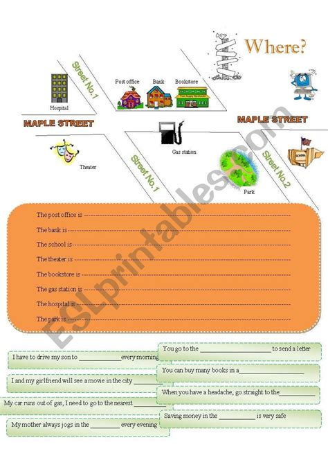 the way worksheet asking and showing the way esl worksheet by cutecoffee