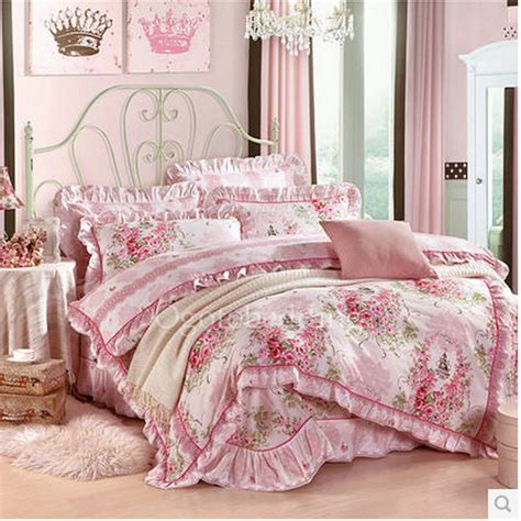 pink floral romantic country cheap comforter sets for
