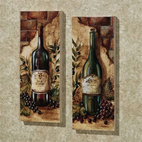 wine themed kitchen set wine cellar 2 canvas set set of two