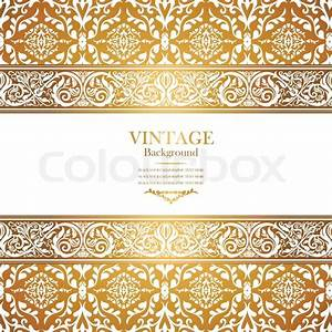 Vintage royal background, antique, victorian gold ornament ...