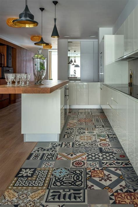 comptoir ciment cuisine 1001 idées pour décorer l 39 espace avec le sol vinyle imitation carreau de ciment