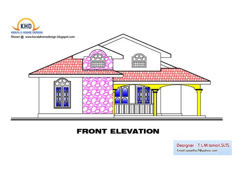 single floor house plan  elevation  sq ft home