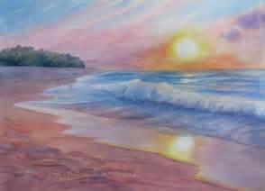 Watercolor Beach Sunset